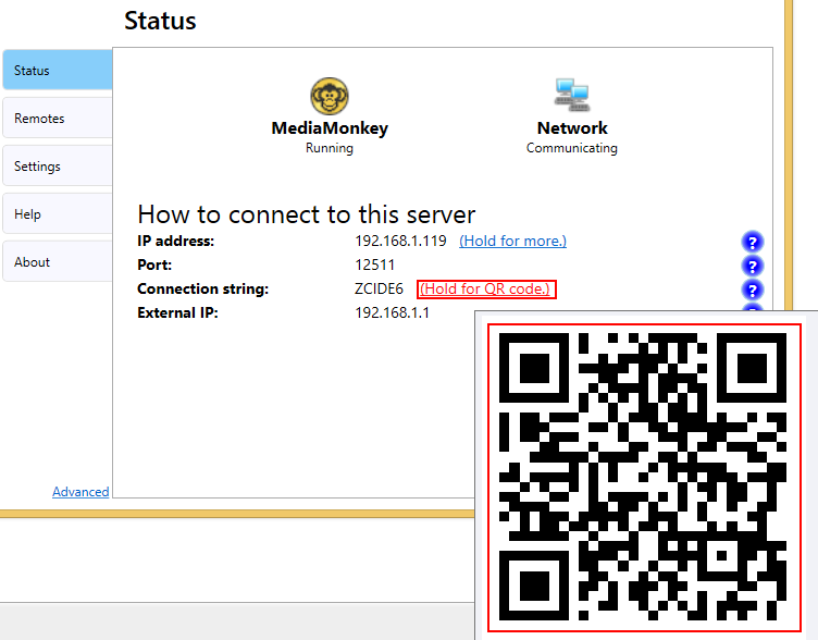 QR code from the server